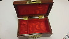Medium Size Natural Rosewood Huali Jewllery Box with Brass Double Happy inlay