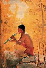 Song of the Aspen by Bert Phillips Native American Flute Player Western 13x19
