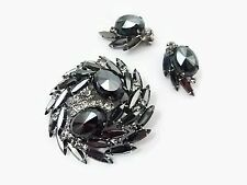 Verified Juliana D&E Hematite Rhinestone Vintage Brooch Clip On Earrings Set