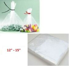 """100 x HEAVY DUTY CLEAR  12""""x 15"""" PLASTIC FOOD APPROVED BAGS  -200 GAUGE *FAST*"""
