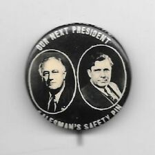 Our Next President Salesman Safety Pin Roosevelt Willkie jugate pinback button