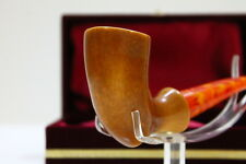 Plain Panel Meerschaum Tobacco Pipe Handmade Double Waxed With Bee Wax