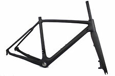 New Version Carbon Cyclocross Bike Frame+Fork Carbon Fiber CX Frameset 50cm QR