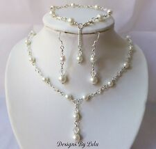 BRIDAL JEWELLERY SET ~ Ivory Pearl & Crystal ~ 925 Sterling Silver Ear Hooks