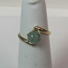 14K Yellow Gold Green Jade Ball Solitaire Midi Ring Size 3.5 Wholesale R9069