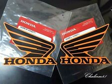 HONDA GENUINE WING - Black Orange - 2X 90 mm B6H09 STICKER DECAL PLATE EMBLEM