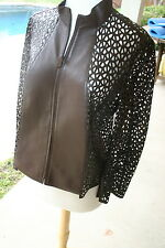 Akris brown Leather Laser Cut Brown Jacket sz 8