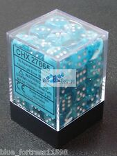CHESSEX CIRRUS 12mm SET OF 36 D6 AQUA AND SILVER DICE MTG