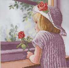 "Waiting For Daddy Girl Cross Stitch Kit - Needle Treasures - 10""x10"" 25cm x 25cm"