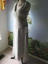 "JJ S  House Silver Wedding Gown Chiffon Dress SZ Custom Bust 33"" Waist 27"" New"