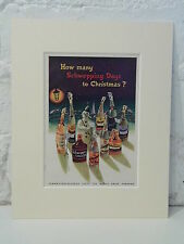 1950s mounted advert SCHWEPPES how many Schwepping days to Christmas singer 10x8