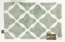 "TOMMY BAHAMA LATTICE PATTERN GRAY+WHITE 100% COTTON BATH RUG,CARPET-(21"" X 32"")"