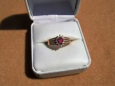 14k yellow gold pink tourmaline & diamond ring size 7