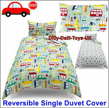 NEW Boys Traffic Single Bed Duvet Cover 50% Cotton Car Lorry Bus Green Red Blue