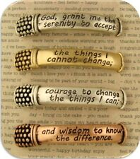 2 Hole Beads Serenity Prayer Engraved Bars in Burnished 3T Metal ~ Sliders Qty 4