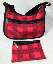 LeSportsac Deluxe Satchel Purse Crossbody Bag Wallet MAD FOR PLAID pink & black
