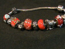 Glass Bead and Metal Charm Bracelet with Lock Clasp Closure