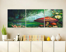 """16X16"""" X3PCS Wall Decro Art Oil Painting on Canvas NO FRAME Forest Mushroom 048"""