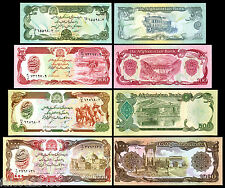 AFGHANISTAN - 4 BANCONOTE FDS 50 100 500 1000 AFGHANIS MONDIALI COLLECTION UNC