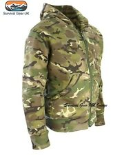 MENS ARMY HOODIE FULL ZIP JACKET CAMO FLEECE LINED HOODY AIRSOFT BTP CAMO (L)