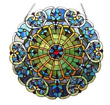 """Tiffany Style Stained Glass Victorian Window Panel 23"""" Diameter Handcrafted New"""