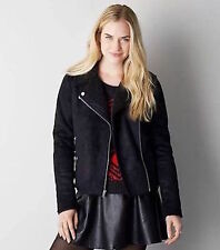American Eagle Outfitters Black Faux Shearling Moto Jacket Size Extra Small NWOT