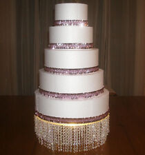 "CAKE STAND Lighted Acrylic crystal bling, 14"" round, Wedding, dbl. crystals"