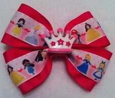 "Girls Hair Bow 4"" Wide Princess Grosgrain Ribbon Crown Hot Pink Alligator Clip"