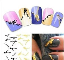 Gold & Black Zips/Zipper Style 3D Nail Art Stickers Water Transfer Decals