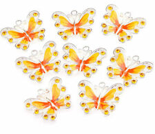 New Silver Plated Enamel Crystal Rhinestone Butterfly Charms Pendant Yellow 1Pc