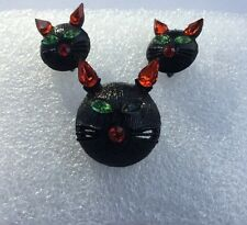 Vintage Brooch & Clip Earrings ~ Signed 11 W 30th St. Inc (Dodds) Halloween Cat!