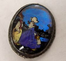 Antique Sterling Silver Butterfly Wing Brooch Morpho Hand Painted Pin Dutch Girl