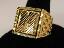 MENS 14KT GOLD EP BLING LETTER M INITIAL HIP HOP RING - SIZE 11