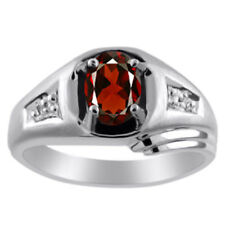 Mens Garnet & Diamond Ring 14K White Gold January Birthstone