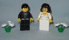 NEW CUSTOM LEGO WEDDING BLACK HAIR BRIDE AND GROOM MINIFIGS, MINIFIGURES