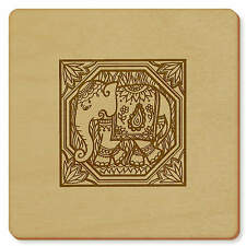 6 x 'Indian Elephant Motif' 95mm x 3mm Square Wooden Coasters (CR00024047)
