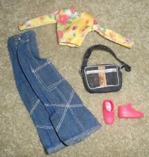 POSABLE FLAT FOOT BARBIE DOLL CLOTHES - JEANS, LONG SLEEVED TOP, SHOES, PURSE