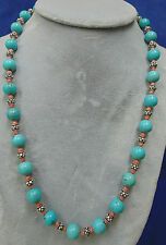 BEADED PARROT GORGEOUS TURQUOISE PEACH CORAL .925 BALI STERLING SILVER NECKLACE