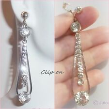 "CLIP ON 2-1/2""Clear Rhinestone Silver Tone Non-Pierced Dangle Long Earrings G557"