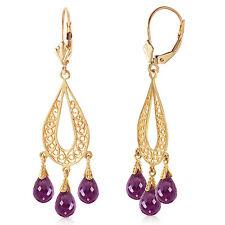 3.75 Carat 14K Solid Gold Chandelier Earrings Natural Amethyst