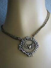 """BETSEY JOHNSON BLACK LABEL COLLECTION HEART WINGS """"NICE"""" MEDALLION NECKLACE~NWT"""