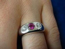 ELEGANT RUBY AND DIAMONDS GYPSY RING 14K WHITE  GOLD 5.8 GRAMS