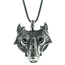 Men Leather Chain Retro Silver Animal Wolf Head Pendant Necklace Vintage Jewelry