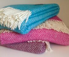 TWEEDMILL Beehive Turquoise Pure New Wool Blanket / Throw ���� Made In UK