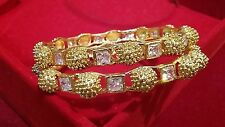 Premium contemporary gold plated  bangles / kada with american diamond 2.4- size