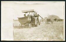 STEAM ENGINE TRACTOR AT WORK ON FARM DURING HARVEST c1910 SRPPC Photo Postcard