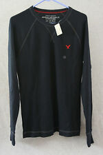 American Eagle Mens Pullover Shirt Sweater Black AE Legend Thermal Knit Sz M NWT