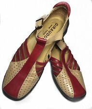Giraudon Sport New York Mary Jane Red Tan Leather size 38.5