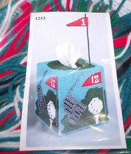 Design Works GOLF Tissue Box Cover Plastic Canvas Kit