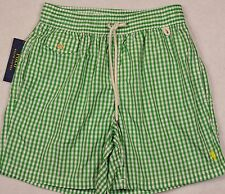 Polo Ralph Lauren Swim Briefs Shorts Green Checked Swimming L Large NWT
